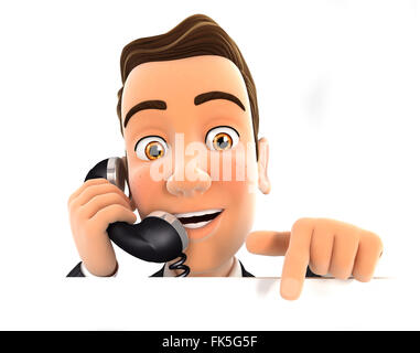 3d businessman on phone and pointing to empty wall, isolated white background - Stock Photo