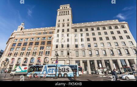 Plaça Catalunya, Barcelona. - Stock Photo