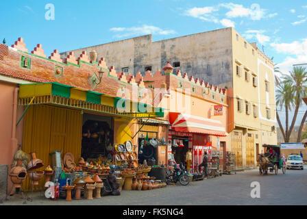 Avenue du 20 Aout, medina, Taroudant, Souss valley, southern Morocco, northern Africa - Stock Photo