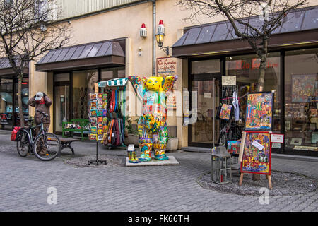 Klio Karadim art and curio shop with bright buddy bear in Berlin Old Town, Nikolaiviertel altstadt - Stock Photo