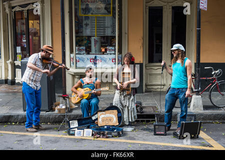 Street musicians in the French Quarter, New Orleans, Louisiana, United States of America, North America - Stock Photo