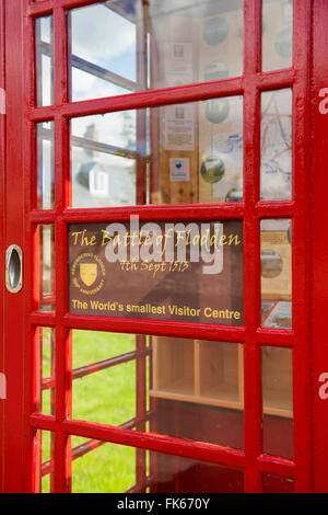 The Worlds smallest visitor centre in a phone box in Flodden in the Scottish borders, Scotland, United Kingdom, - Stock Photo