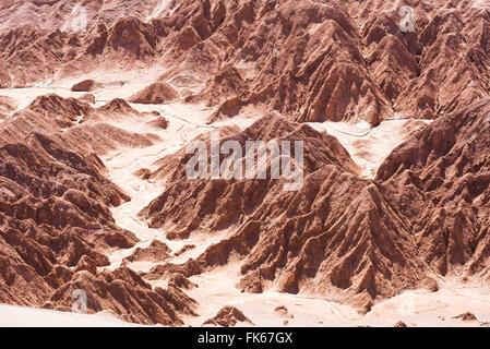 Rock formations in Death Valley (Valle de la Muerte), San Pedro de Atacama, Atacama Desert, North Chile, South America - Stock Photo