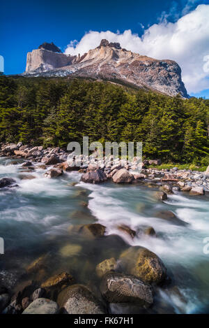 Los Cuernos Mountains and Rio Frances, French Valley, Torres del Paine National Park, Patagonia, Chile, South America - Stock Photo