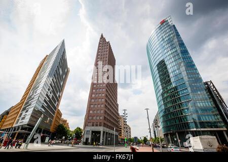 Buildings on Potsdamer Platz, Mitte, Berlin, Germany, Europe - Stock Photo