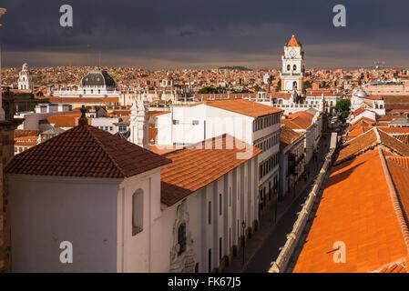 Historic City of Sucre seen from Iglesia Nuestra Senora de La Merced (Church of Our Lady of Mercy), UNESCO, Bolivia - Stock Photo