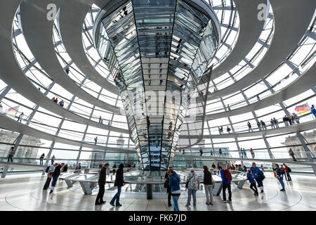 The Reichstag Dome, German Parliament building, Mitte, Berlin, Germany, Europe - Stock Photo