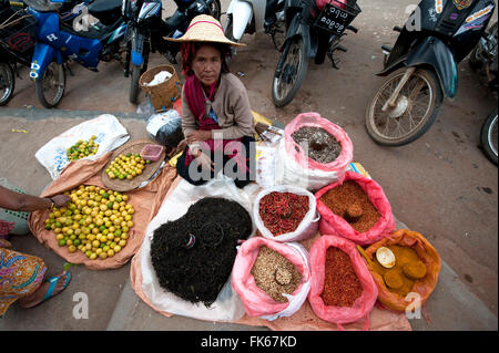 Woman in straw hat selling lemons, tea and spices on a blanket outside Kalaw market, Shan state, Myanmar (Burma), - Stock Photo