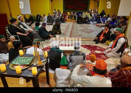 Sufi Muslims gathering in Paris, France, Europe - Stock Photo