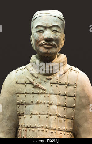 Museum of the Terracotta Warriors, bust of a Cavalryman, Xian, Shaanxi Province, China, Asia - Stock Photo