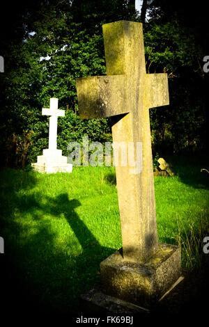 Crucifix gravestones in a cemetery. London, England, UK - Stock Photo
