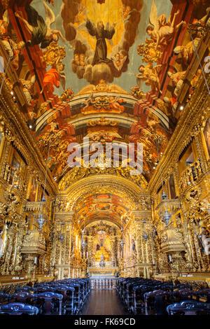 Baroque interior of the church of Order of St. Francis of Penitence by Xavier de Brito, Rio de Janeiro, Brazil - Stock Photo