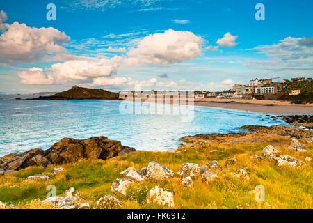 Porthmeor Beach, The Island, St. Ives, Cornwall, England, United Kingdom, Europe - Stock Photo