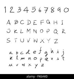 Sketch alphabet Hand drawn.Vector illustration - Stock Photo