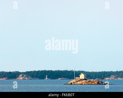 Lone hut on a small island in the Stockholm Archipelago, Sweden, Scandinavia, Europe - Stock Photo