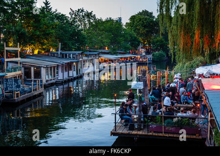 People at the Club der Visionaere and the Garden Chalet in the background, Kreuzberg, Berlin, Germany, Europe - Stock Photo