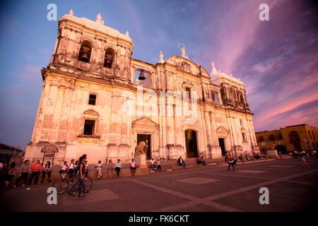 Basilica Catedral de la Asuncion, Leon, Nicaragua, Central America - Stock Photo