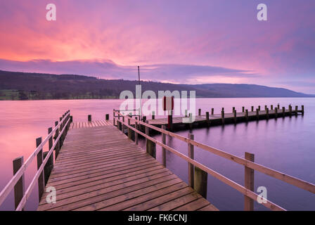 Jetty on Coniston Water at sunrise, Lake District National Park, Cumbria, England, United Kingdom, Europe - Stock Photo