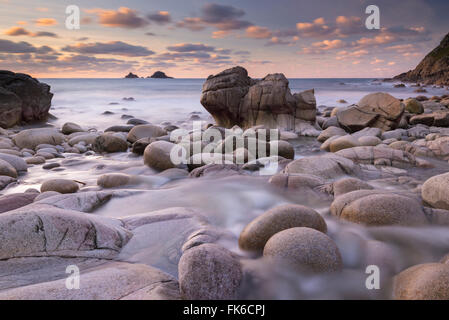 Porth Nanven cove and The Brisons, Cornwall, England, United Kingdom, Europe - Stock Photo