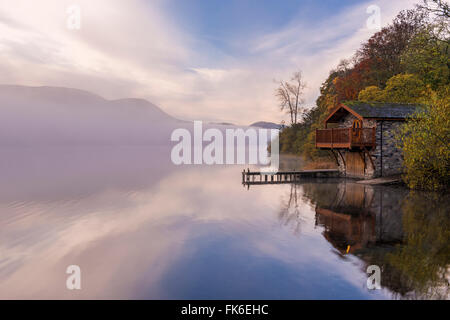 Duke of Portland Boathouse on misty Ullswater in autumn, Lake District, Cumbria, England, United Kingdom, Europe - Stock Photo