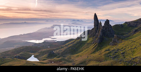 Spectacular scenery at the Old Man of Storr on the Isle of Skye, Inner Hebrides, Scotland, United Kingdom, Europe - Stock Photo