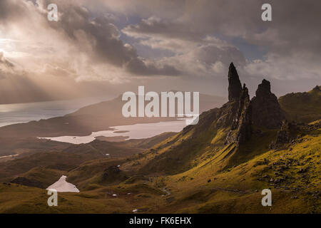 Dramatic morning light at the Old Man of Storr on the Isle of Skye, Inner Hebrides, Scotland, United Kingdom, Europe - Stock Photo
