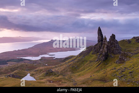 Atmospheric sunrise above the Old Man of Storr on the Isle of Skye, Inner Hebrides, Scotland, United Kingdom, Europe - Stock Photo