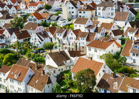 Old Stavanger comprising about 250 buildings from early 18th century, mostly small white cottages, Stavanger, Rotaland, - Stock Photo