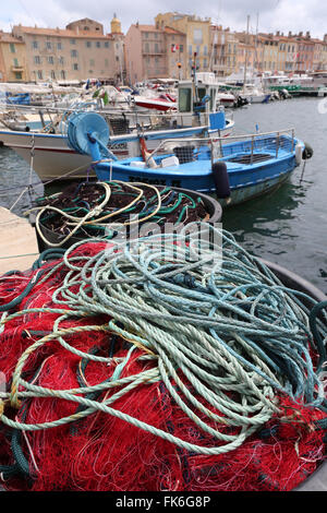 Saint Tropez, nets and fishermen boats in the old harbor, St. Tropez, Var, Provence, Cote d'Azur, French Riviera, - Stock Photo
