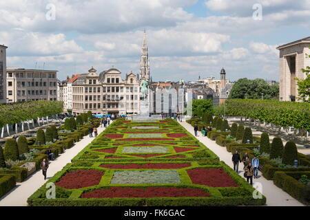 Mont des Arts Garden, Brussels, Belgium, Europe - Stock Photo