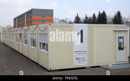 Halberstadt, Germany. 7th Mar, 2016. View of the new arrival centre for asylum seekers at the Central Contact Point - Stock Photo