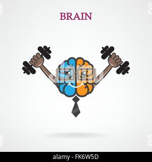 Creative left and right brain sign with the barbell on background ,design for poster flyer cover brochure.Education - Stock Photo