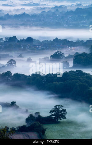 a misty morning in the Blackmore Vale, Dorset, England, UK - Stock Photo