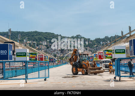 The Workers are preparing Sambadrome in Rio de Janeiro, Brazil - Stock Photo