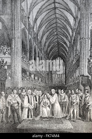 The coronation of Queen Victoria, 1838, ceremony at Westminster Abbey, Victoria or Alexandrina Victoria, 1819 - - Stock Photo