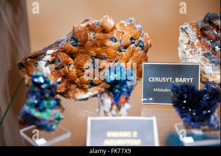 Cerussite and baryte crystal gemstones, pieces assortment at Warsaw Mineral Expo 2016, 5th March, VI edition event - Stock Photo