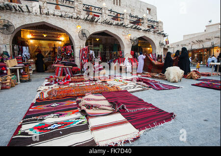 View of shop selling traditional crafts at Souk Waqif in Doha Qatar - Stock Photo