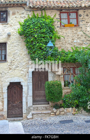 Old traditional stone house with wooden doors, small windows,ivy plant on the wall,on narrow cobbled street in medieval - Stock Photo