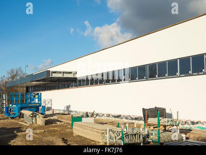 New Aldi supermarket under construction less than 100 metres from Asda store in Billingham, North east England. - Stock Photo
