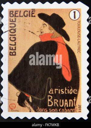 BELGIUM - CIRCA 2011: A stamp printed in Belgium shows Toulouse-Lautrec, Aristide Bruant dans son Cabaret 1893, - Stock Photo