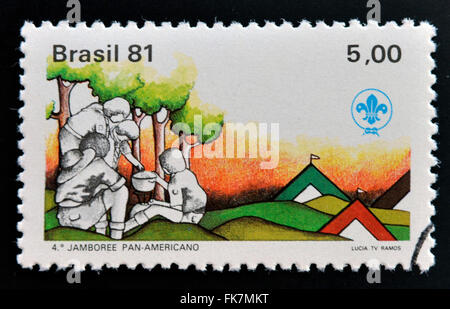 BRAZIL - CIRCA 1981: Stamp printed in Brazil dedicated to scout boys, circa 1981 - Stock Photo