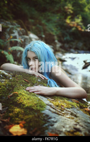 Beautiful dryad of the forest portrait . Fantasy and fairy - Stock Photo