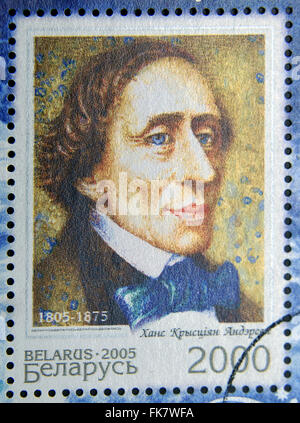 BELARUS - CIRCA 2005: A stamp printed in Belarus shows Hans Christian Andersen, circa 2005 - Stock Photo