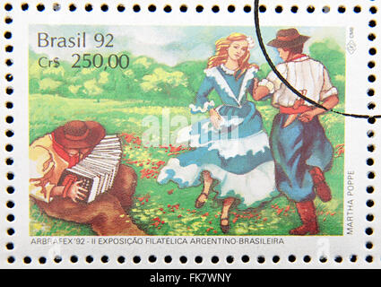 stamp printed in Brazil dedicated to gaucho costume, dance shows, 1992 - Stock Photo