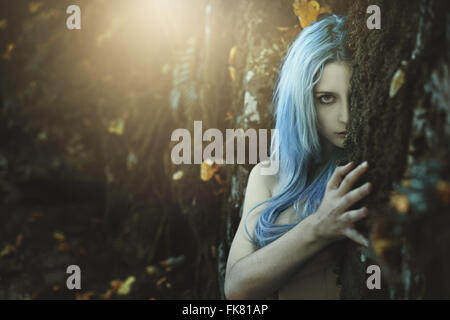 Dark child of the forest . Fantasy and myth - Stock Photo