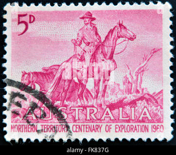 AUSTRALIA - CIRCA 1960: a stamp printed in Australia shows The Overlanders by Sir Daryl Lindsay, Centenary of Exploration - Stock Photo
