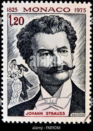 MONACO - CIRCA 1975: A  stamp printed in Monaco shows image portrait of famous Austrian music composer Johann Strauss, - Stock Photo