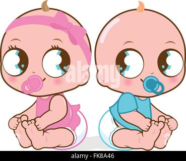 Cute baby girl and boy - Stock Photo