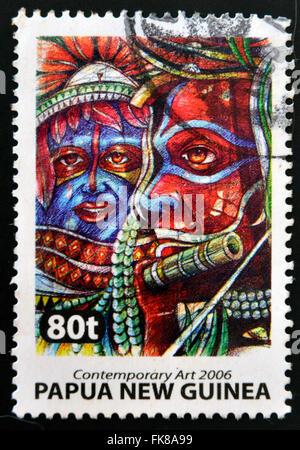 PAPUA NEW GUINEA - CIRCA 2006: Stamp printed in Papua dedicated to contemporary art, circa 2006 - Stock Photo