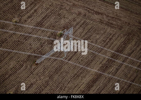Photo of aerial transmission lines of electric power from Itaipu Hydroelectric Plant - Stock Photo